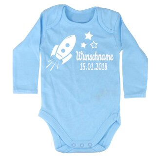 Elefantasie BABY BODY Rakete aus Bio Baumwolle mit Namen und Geburtsdatum beflockt 50/56 langarm hellblau