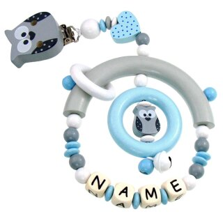 Premium Kinderwagen Anhänger mit Namen HOLZ Modell Eule Herz grau hellblau