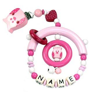 Premium Kinderwagen Anhänger mit Namen HOLZ Modell Eule Total pink