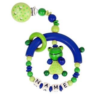 Premium Kinderwagen Anhänger mit Namen HOLZ Modell kleiner Frosch grün blau