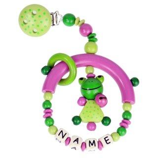 Premium Kinderwagen Anhänger mit Namen HOLZ Modell kleiner Frosch grün pink
