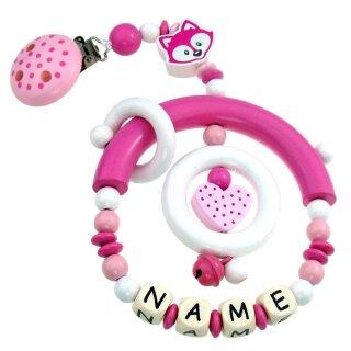 Premium Kinderwagen Anhänger mit Namen HOLZ Modell Pünktchen Fuchs pink