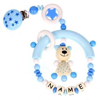 Premium Kinderwagen Anhänger mit Namen HOLZ Modell Teddybär Sterne blau