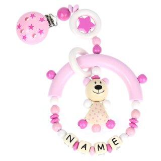 Premium Kinderwagen Anhänger mit Namen HOLZ Modell Teddybär Sterne pink