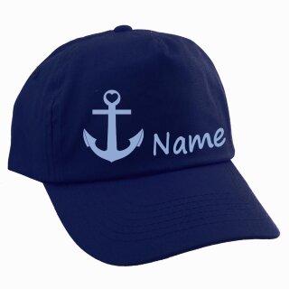 Junior Kinder CAP Anker mit Namen oder Text personalisiert verschiedene Ausführungen