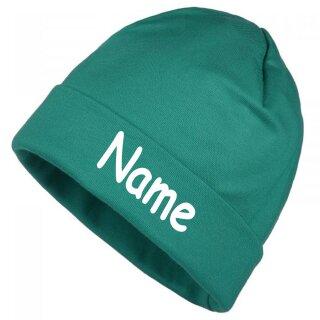 Mütze uni mit Namen oder Text personalisiert für Baby oder Kind aus 100% Baumwolle mit UV-Schutz