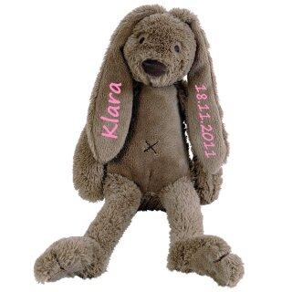 Stofftier Hase mit Namen und Geburtsdatum personalisiert Geschenk braun verschiedene Ausführungen