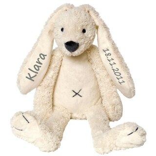 Stofftier Hase mit Namen und Geburtsdatum personalisiert Geschenk weiß verschiedene Ausführungen