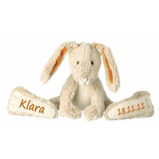 Stofftier Hase mit großen Füßchen mit Namen und Geburtsdatum personalisiert Geschenk beige orange