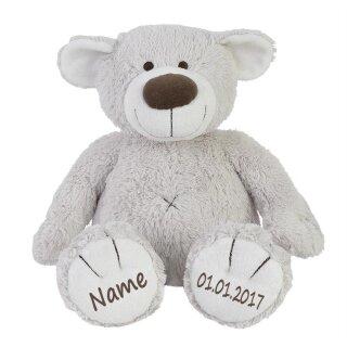 Stofftier Teddy Bär zartgrau Geschenk mit Namen und Geburtsdatum personalisiert