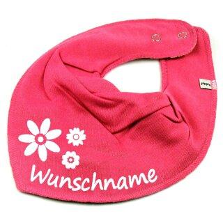 HALSTUCH BLUMEN mit Namen oder Text personalisiert für Baby oder Kind verschiedene Ausführungen