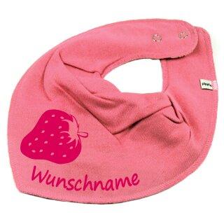HALSTUCH ERDBEERE mit Namen oder Text personalisiert für Baby oder Kind verschiedene Ausführungen