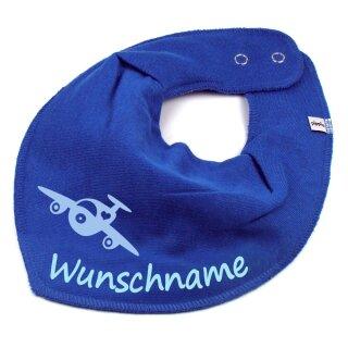 HALSTUCH Flugzeug mit Namen oder Text personalisiert für Baby oder Kind verschiedene Ausführungen