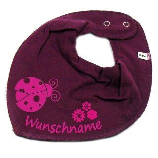 HALSTUCH Marienkäfer Blume mit Namen oder Text personalisiert für Baby oder Kind verschiedene Ausführungen