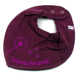 HALSTUCH PUSTEBLUME mit Namen oder Text personalisiert für Baby oder Kind verschiedene Ausführungen