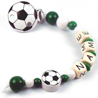 PREMIUM Schnullerkette mit Namen Modell Fußball div. Farben
