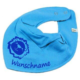 HALSTUCH Löwe mit Namen oder Text personalisiert türkis für Baby oder Kind