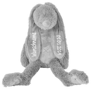 Stofftier Hase mit Namen und Geburtsdatum personalisiert Geschenk grau