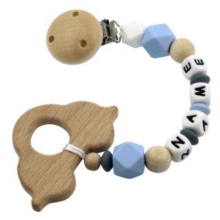 Beißkette mit Namen personalisiert aus Silikon und Holz div. Farben