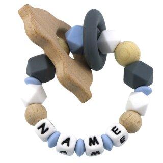 Beißring mit Namen personalisiert aus Silikon und Holz div. Farben