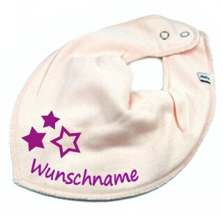HALSTUCH drei Sterne mit Namen oder Text personalisiert für Baby oder Kind verschiedene Ausführungen