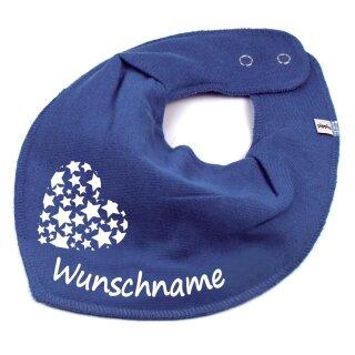 HALSTUCH Herz Sterne mit Namen oder Text personalisiert für Baby oder Kind verschiedene Ausführungen