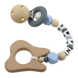 Beißkette mit Namen personalisiert aus Silikon und Holz div. Farben mit Silikonring