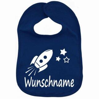 Lätzchen Rakete mit Namen oder Text personalisiert für Baby oder Kleinkind verschiedene Ausführungen