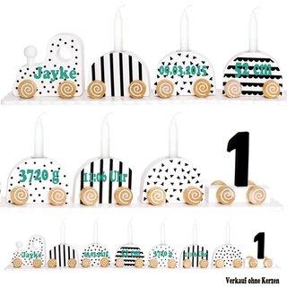 Geburtstagszug Kerzenhalter aus Holz mit Namen und Geburtsdaten personalisiert