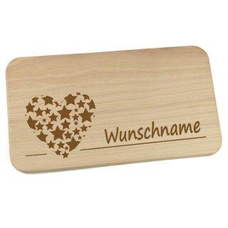 Frühstücksbrettchen aus Holz mit Namen personalisiert Motiv Herz aus Sternen