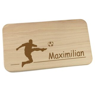 Frühstücksbrettchen aus Holz mit Namen personalisiert Motiv Fußballspieler