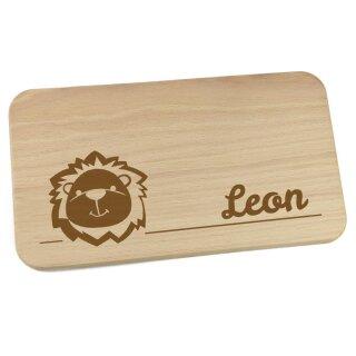 Frühstücksbrettchen aus Holz mit Namen personalisiert Motiv Löwe