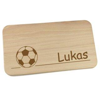 Frühstücksbrettchen aus Holz mit Namen personalisiert Motiv Fußball