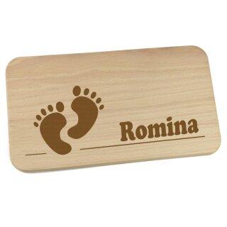 Frühstücksbrettchen aus Holz mit Namen personalisiert Motiv Füße