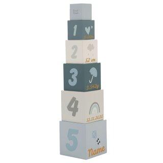 Stapelwürfel Stapelturm aus Holz mit Namen und Geburtsdaten graviert div. Farben