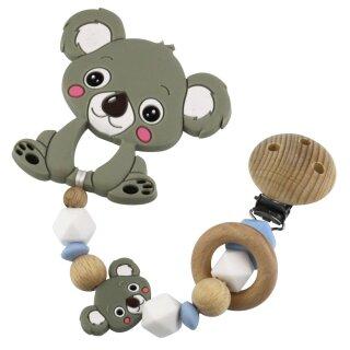 Beißkette aus HOLZ und Silikon Modell Koala hellblau