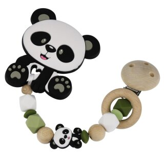 Beißkette aus HOLZ und Silikon Modell Panda grün