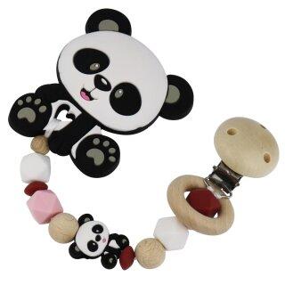 Beißkette aus HOLZ und Silikon Modell Panda rosa
