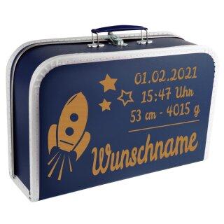 Baby Erinnerungsbox Koffer mit Namen und Geburtsdatum graviert Modell Rakete div. Ausführungen