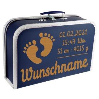 Baby Erinnerungsbox Koffer mit Namen und Geburtsdatum graviert Modell Füße div. Ausführungen