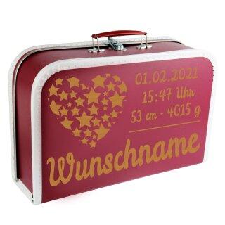 Baby Erinnerungsbox Koffer mit Namen und Geburtsdatum graviert Modell Herz Sterne div. Ausführungen