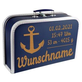 Baby Erinnerungsbox Koffer mit Namen und Geburtsdatum graviert Modell Anker div. Ausführungen