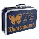 Baby Erinnerungsbox Koffer mit Namen und Geburtsdatum graviert Modell Schmetterling div. Ausführungen