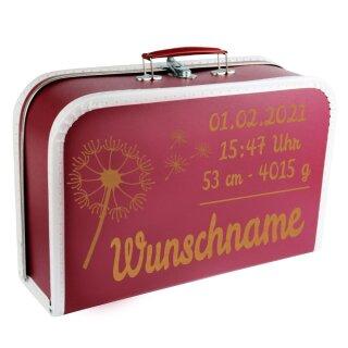 Baby Erinnerungsbox Koffer mit Namen und Geburtsdatum graviert Modell Pusteblume