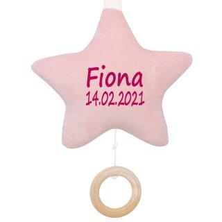 Spieluhr Stern rosa Geschenk mit Namen und Geburtsdatum personalisiert