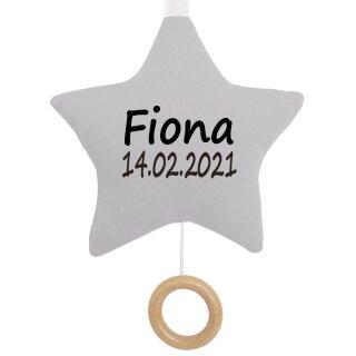 Spieluhr Stern grau Geschenk mit Namen und Geburtsdatum personalisiert