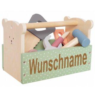 Werkzeugkoffer aus Holz mit Namen graviert Modell Teddy