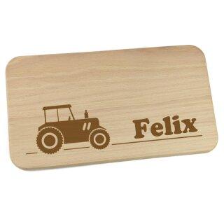 Frühstücksbrettchen aus Holz mit Namen personalisiert Motiv Traktor