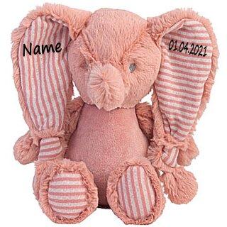 Stofftier Elefant Geschenk mit Namen und Geburtsdatum personalisiert verschiedene Ausführungen