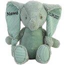 Stofftier Elefant Geschenk mit Namen und Geburtsdatum personalisiert Petrol 34 cm